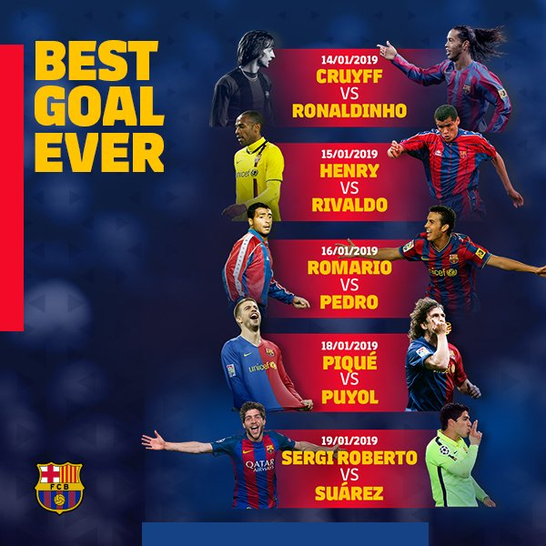 ⚽ #BarçaBestGoalEver 🔥 Next matchups🔥 Today Cruyff 🆚 Ronaldinho ¡Vote here! 🎥👉 https://t.co/3c89QjeCcv
