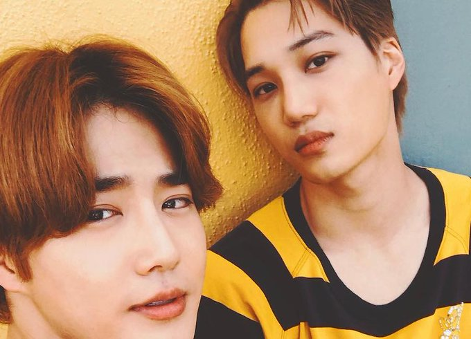 #EXO's Suho And Chanyeol Congratulate #Kai On His Birthday ภาพถ่าย