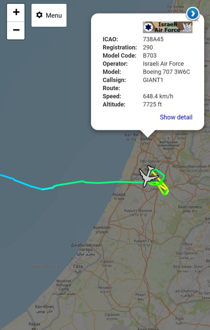 Israeli Air Force Boeing 707 tanker with callsign GIANT1 up near #Gaza Фото