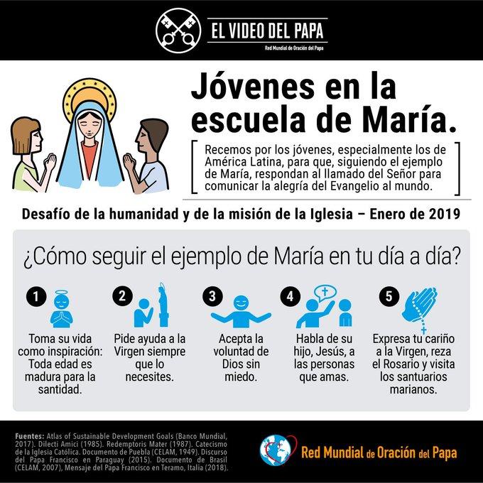 @Pontifex_es nos invita a rezar para que, siguiendo el ejemplo de María, los jóvenes comuniquen la alegría del Evangelio al mundo. Únete a su oración. Foto