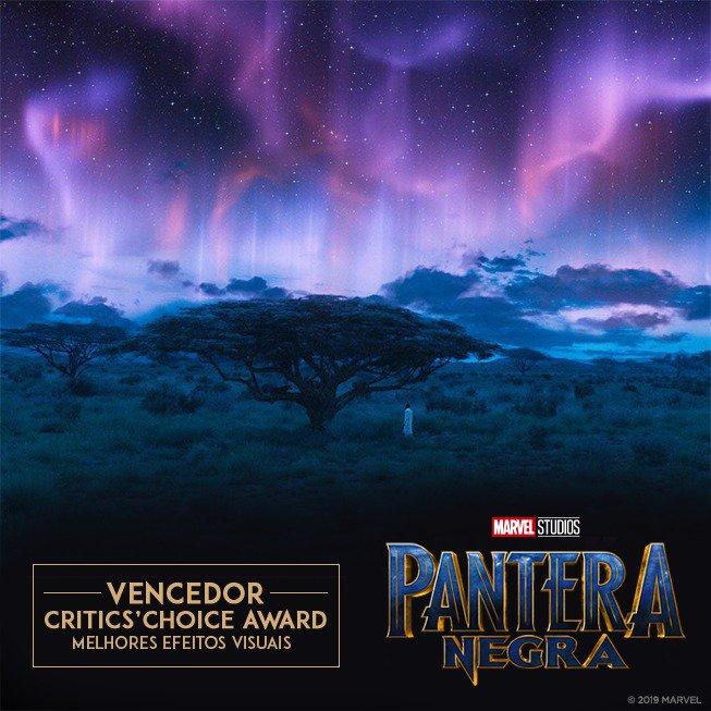 Parabéns ao filme #PanteraNegra pelas suas três premiações no #CriticsChoiceAwards, incluindo Melhor Design de Produção, Melhores Efeitos Visuais e Melhor Design de Figurino! 🏆 Foto