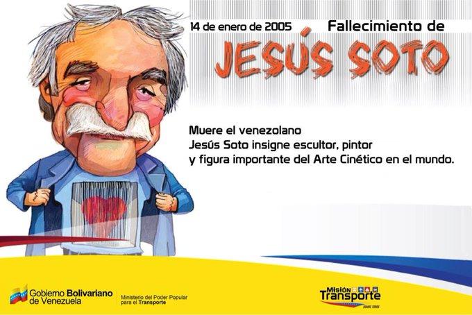 #SabíasQue? Tal día como hoy (14 de enero de 2005) falleció Jesús Soto quien fue un artista venezolano, figura importante del arte cinético, creador de la Esfera Caracas que fue instalada en 1996 en la Autopista Francisco Fajardo de Caracas. #RumboALaGranMisiónTransporte Foto