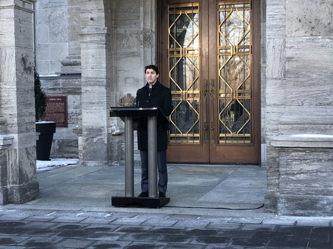 Prime Minister @JustinTrudeau about to take questions from reporters after this morning's cabinet shuffle at Rideau Hall. Full coverage on @CPAC_TV. #cdnpoli Photo