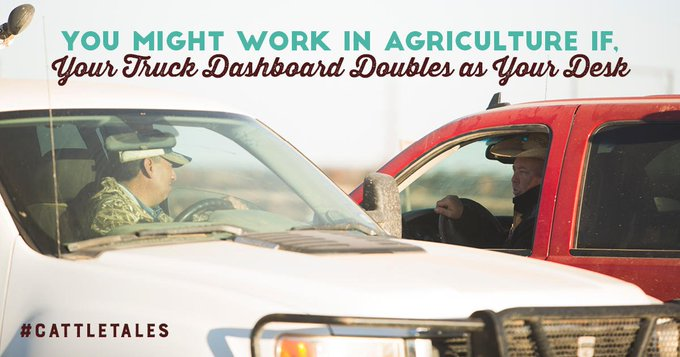 That moment cleaning your truck, doubles as filing paperwork. Who else uses their dashboard as their file cabinet?!?! #NationalCleanOffYourDeskDay #CattleTales Photo