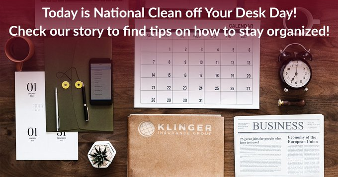 Did you know today is #NationalCleanOffYourDeskDay? Follow our story throughout the day to see us clean off our desks and get helpful tips to keep them clean! Photo