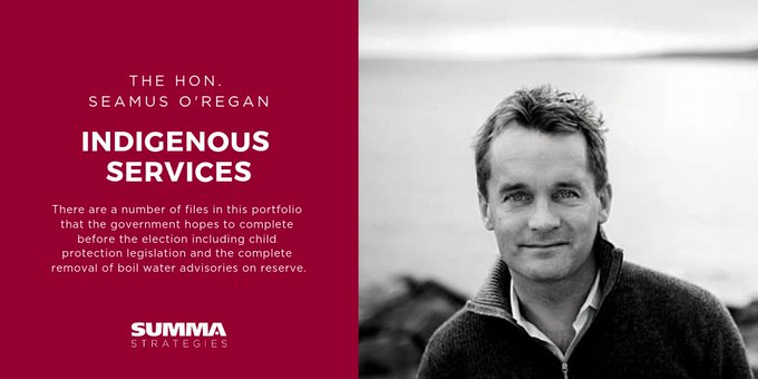 Former Veterans Affairs Minister @SeamusORegan (who has strong ties to the PM's inner circle) moves to Indigenous Services - a more public facing role as #indigenous issues will undoubtedly be a central plank in the Trudeau government's re-election pitch to Canadians. #cdnpoli Photo