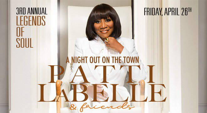 JUST ANNOUNCED! 3rd Annual Legends of Soul Presents @MsPattiPatti April 26 at the North Charleston PAC! Tickets on sale Friday, January 18 at 10AM!
