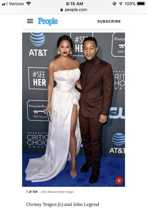 Thanks People Mag for indicating that @chrissyteigen was to the left in this picture with @johnlegend. I was super confused until I read the caption. 😆 Photo