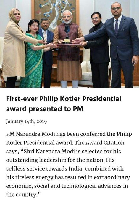 First-ever Philip Kotler Presidential award presented to PM via NaMo App Photo