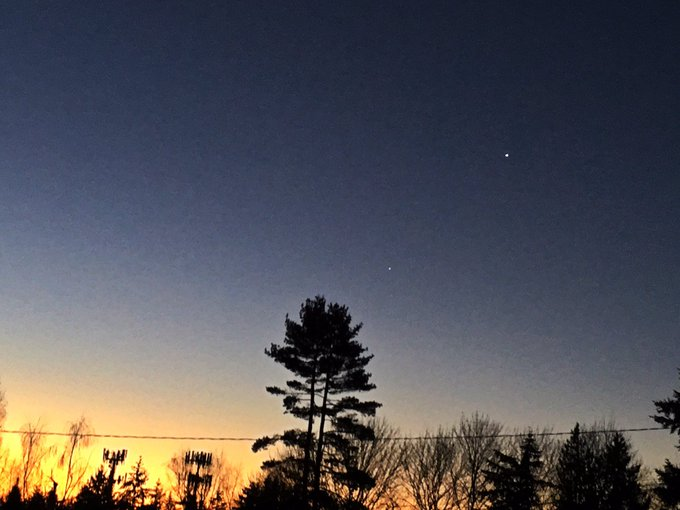 Venus and Jupiter are pointing the way to this morning's sunrise Photo