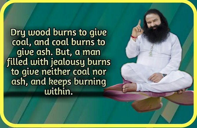 Saint Dr. Gurmmeet Ram Rahim Singh Ji Insan says to never compare yourself with others. Be thankful for what u have and work towards your will only ruin your happiness. @derasachasauda #ShunJealousySaysStRamRahim Photo