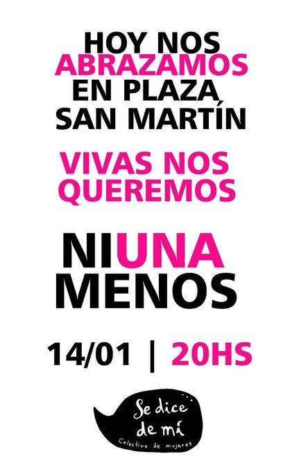 En la ciudad de esperanza.#NIUNAMENOS #VIVASNOSQUEREMOS hoy, 20 hs plaza San Martín. Foto