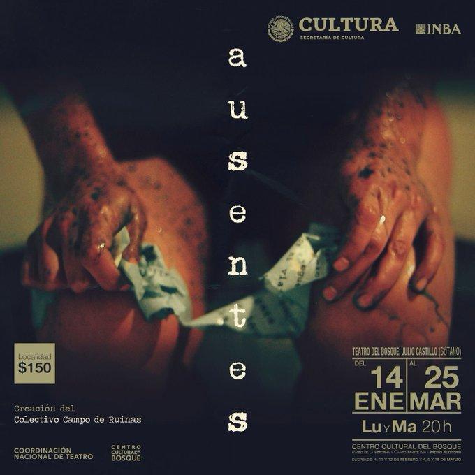 """#LaBuenaVidaEs venir al teatro y no perderse el estreno de """"Ausentes"""", una obra multidisciplinaria que te llegará a la conciencia, creación del Colectivo Campo de Ruinas. 🎭 Foto"""