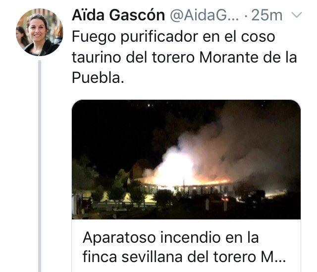 A la líder del lobby animalista AnimaNaturalis se le ha caído este tuit en el aprovecha el incendio en la finca de Morante de la Puebla para hacer gala de su baja catadura moral. Varios cachorros han sido purificados. Foto