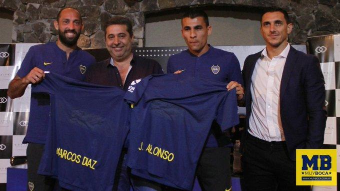 Presentación de los nuevos refuerzos de #Boca: Marcos Díaz y Junior Alonso. Foto