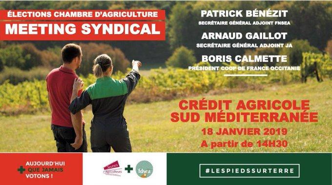 Mobilisez-vous pour les #ECA2019 RÉUNION DE CAMPAGNE : Vendredi 18 janvier à 14h30 à Perpignan, Amphithéâtre Crédit Agricole Sud Méditerranée. Venez découvrir notre projet et échanger avec les candidats de notre liste. Vous êtes tous concernés, venez nombreux !#lespiedssurterre Photo