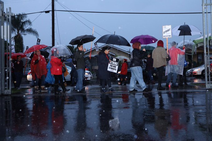 Rain or shine, these educators mean business. Teachers walk out of work today. At Roosevelt High school. #UTLAStrike Photo