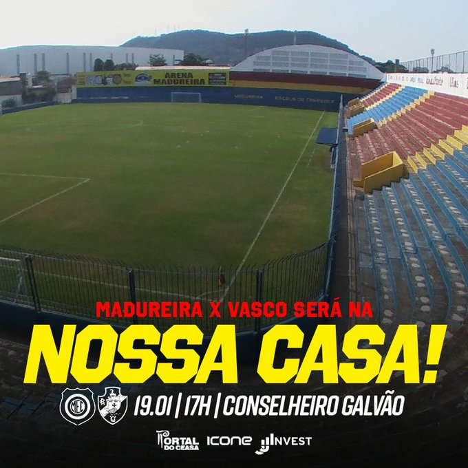 DEFINIDO, TORCEDOR! Estreia do Madureira no Campeonato Carioca, contra o @VascodaGama, será em Conselheiro Galvão! #VamosGanharMEC Foto