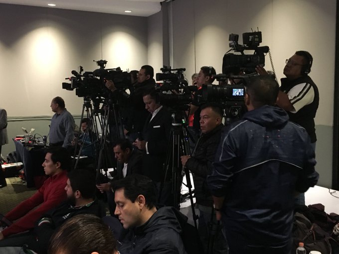 Plenty of media coverage for CFL combine and draft in Mexico City. There are eight cameras at the back of the draft room. #CFL Photo
