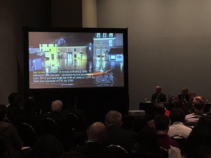 """Decided to crash the """"Decarbonizing Transportation: Current Efforts and Ongoing Needs (for the #1 Source of GHG Emissions in the US)"""" session because I'm a sucker for a good parenthesis. Transportation is over 40% of Rhode Island's carbon emissions. #TRBAM Photo"""