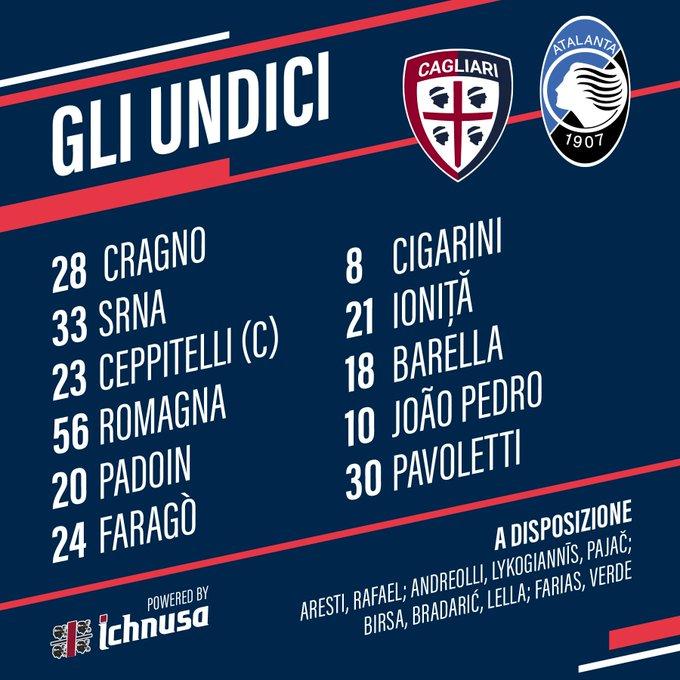 Cagliari e Atalanta estão definidos para o duelo de daqui a pouco as 14:30 válido pela oitavas de finais da Coppa Itália, na Sardegna Arena #CagliariAtalanta Foto