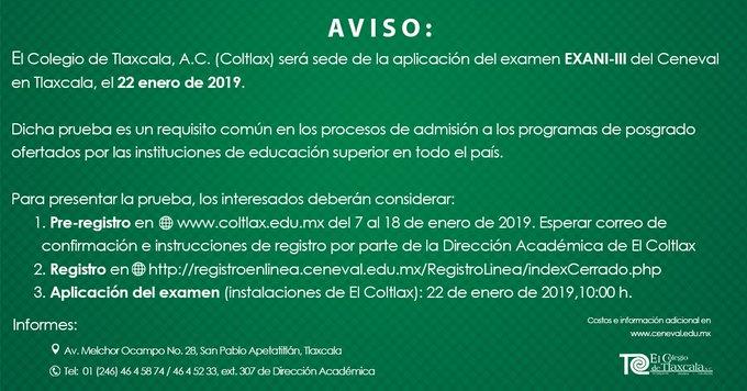 #FelizLunes #FelizInicioDeSemana Esta es la última semana para inscribirte a la aplicación del EXANI-III de @CENEVAL_AC. 💻 Último día de inscripción: 18 de enero. 🗓 Examen: 22 de enero. 🏃¡Inscríbete ahora! Foto