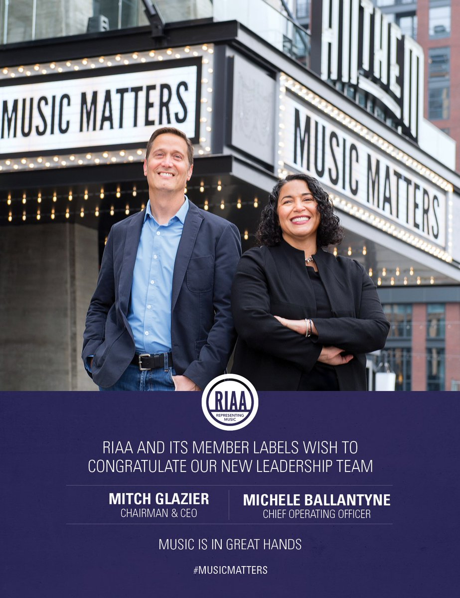 ICYM in @Billboard: our ad celebrating the new leadership team of @mitch_glazier & @Michele_RIAA, standing outside Pollstar's #1 top-selling club in the world, DC's own (& one of our faves) @TheAnthemDC. #musicmatters 🙌