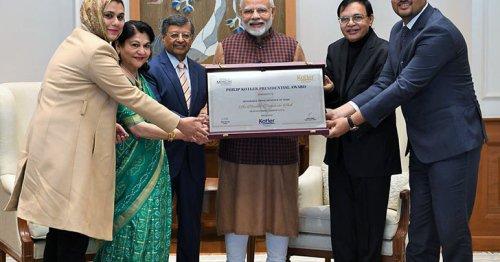 Modi honoured with first-ever Philip Kotler Presidential award #NarendraModi Photo
