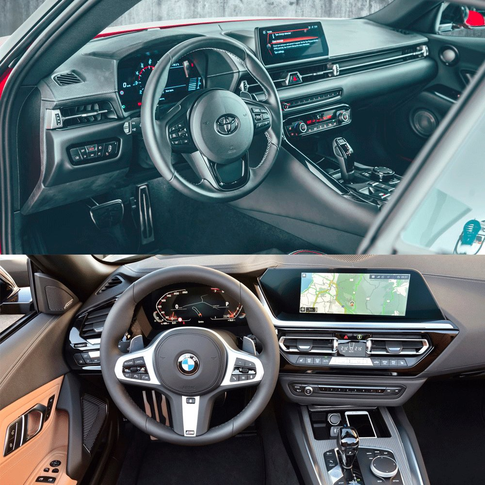 Poking around the new #ToyotaSupra and #BMWZ4 interiors. Spot the difference?