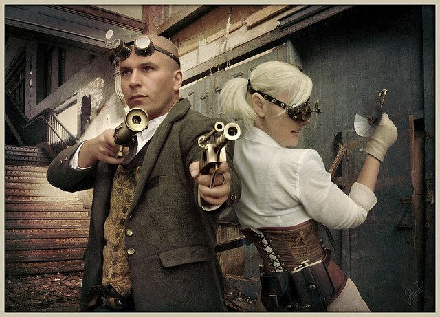 "Excellent steampunk cosplay we found over here! Unique in style. Our pic of the day is ""shoot out"" by Warvan #hatsoff #steampunk #cosplay #style #steampunkoriginals #mondaypic #picoftheday #authenticsteampunk"