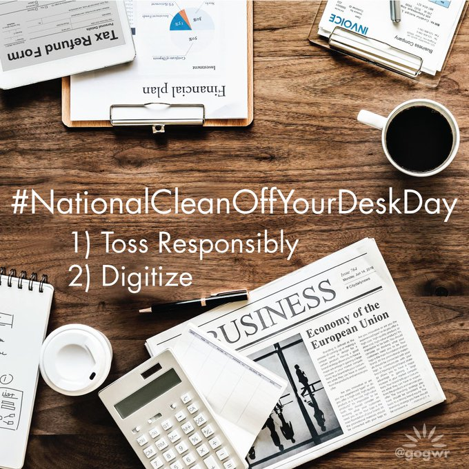 Today is National Clean Off Your Desk Day. Try two steps: 1) Toss Responsibly by sorting waste into the appropriate containers. 2) Digitize documents by scanning paperwork you have, and switching ongoing paperwork to digital alternatives. #NationalCleanOffYourDeskDay #recycle Photo
