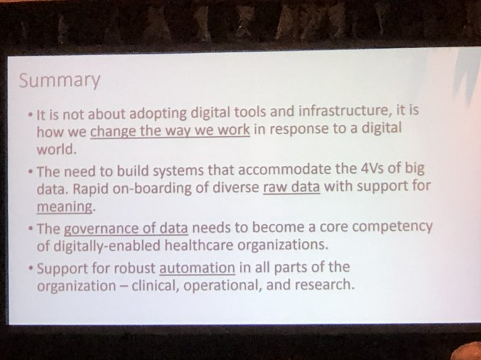 Dr. David Jaffray @UHN @technainstitute summarizes critically important data considerations for advancing #AI and healthcare ...governance of data as a core competency of digitally-enabled hc  #CAHSPRforum2019 Photo