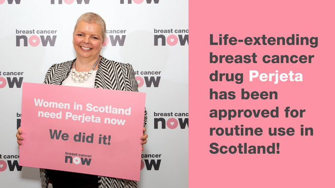 I welcome the decision by SMC to approve Perjeta (Pertuzumab). Congrats to @bcnow_Scotland on its successful #PerjetaNow campaign. Women with incurable secondary breast cancer will now be guaranteed access to this life-extending drug. Find out more here: Photo