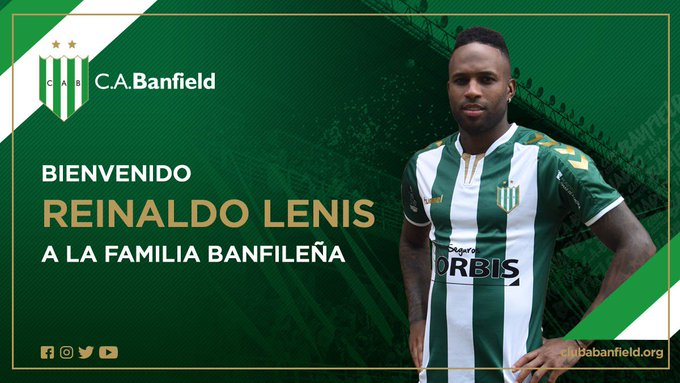 ¡Bienvenido, Reinaldo Lenis 🇨🇴! Nuevo jugador de #Banfield para esta temporada 💚 #VamosTaladro Foto