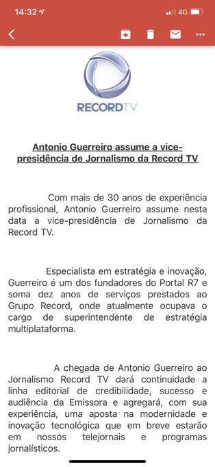 Record TV informa que Douglas Tavolaro deixa vice presidência do jornalismo e o executivo e um dos fundadores do R7, Antônio guerreiro, assume a função. Record agora quer avançar para uma nova era de modernidade tecnológica em seu jornalismo, diz em nota. Foto