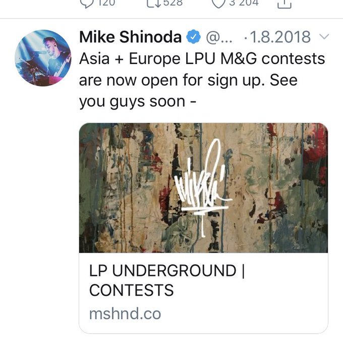 @LikeIcare4this In the last Asian & European tour the LPU M&G contest where opened August 1st. The Asian tour started in 10th August and European tour on the 24th August. So I am expecting them to open the M&G's somewhere in February. Photo