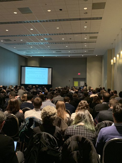 Packed room for @wsp's session on the hot topic of Transportation network companies increasing or decreasing congestion. @NASEMTRB #trbam #THISisITS Photo