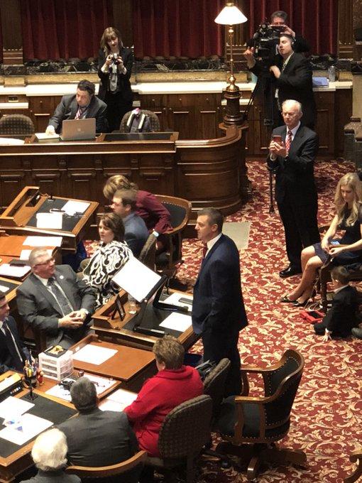 Senate Majority Leader @jackwhitver beginning his opening remarks. #ialegis Photo