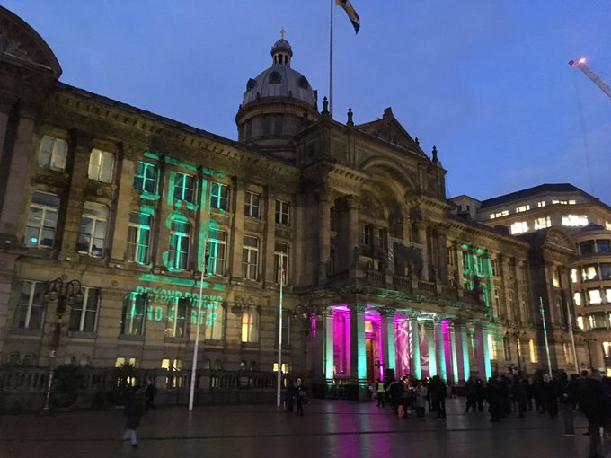 Join #brum130 celebrations live from Victoria Square with artist @aerosolali and @CultureCentral until 6pm today as the city enjoys 130 years of city status Photo