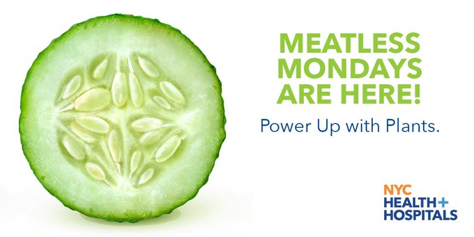 Patients at all @NYCHealthSystem hospitals are now offered #MeatlessMonday meal options to introduce #plantbasednutrition and a healthier lifestyle. Photo