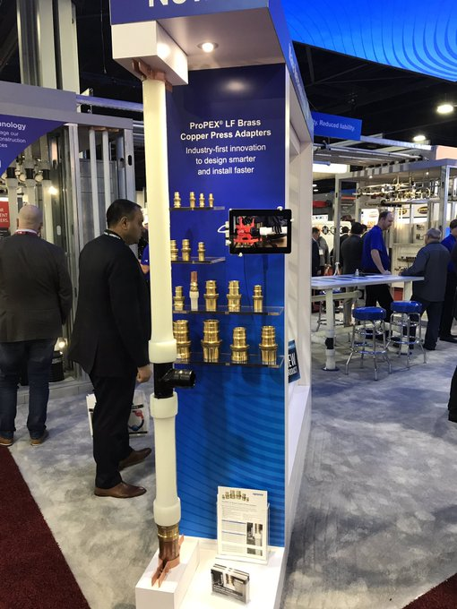 New @uponor copper press-to-PEXa adapters will be a game changer! #AHRExpo #AHRexpo2019 Photo