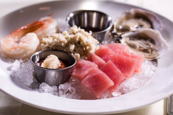 How do you celebrate #MeatlessMonday at a #Chicago Steak House? Why not enjoy our cold platter consisting of shrimp, blue point oysters, lump crab meat and crudo tuna. Our menu has fantastic fresh seafood choices on our daily menu as well as the finest steaks in Chicago. Photo