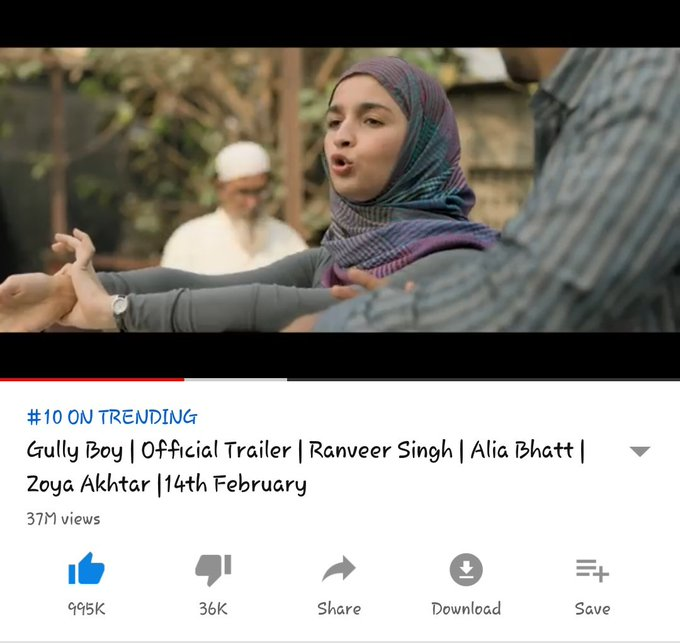 Aaan aaannnn .... Only 5k left for 1M like Will be the 1st trailer of 2019 to touch 1m like 1 MONTH TO GULLY BOY Photo