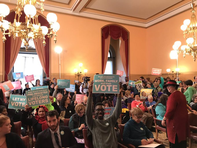 #LetNYvote has TURNED OUT for the press conference on this historic day. Thank YOU for all the hard work you did to get us here! Photo