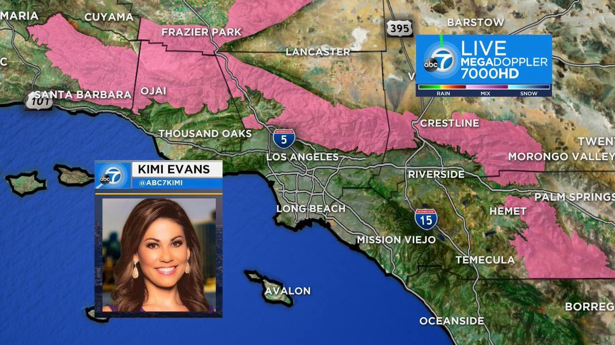 Winter Storm Warning for most mountains of southwest California through 10am tomorrow.  Total snow accumilations of 6-12&quot; above 5,000 feet.  Damaging southeast winds 25-35 mph with gusts to 60 mph are expected across the northwest portion, including the I-5 corridor. @ABC7<br>http://pic.twitter.com/ljrNaUHMtH