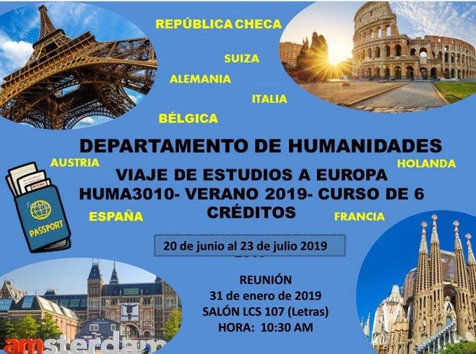 El Departamento de Humanidades de la #UPRH anuncia que estará efectuando un Viaje de Estudios a Europa, por lo que invita a toda la comunidad universitaria que interese asistir, a una reunión el jueves, 31 de enero a las 10:30 en el Salón LCS 107 (Letras) Foto
