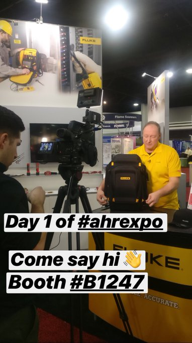 Day 1 of the #AHRExpo is rocking and rolling! Come stop by the Fluke Booth #B1247 😎⚡️ Photo