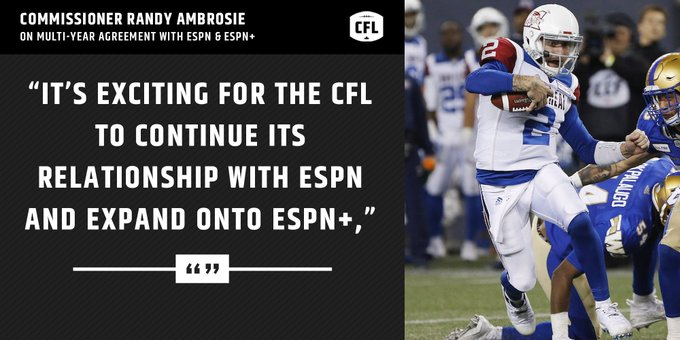 The @CFL will be shown in 🇺🇸 on @espn and #ESPNplus in multi-year agreement. INFO ➡️ #CFL Photo