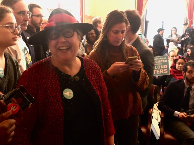 Susan Lerner, fearless leader of @commoncauseny, waiting for the State Senate press conference on voting to start. #LetNYVote Photo