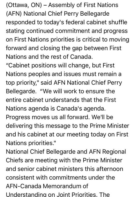 Statement from @AFN_Updates national chief @perrybellegarde on the new minister of Indigenous Services and the cabinet shuffle #cdnpoli Photo
